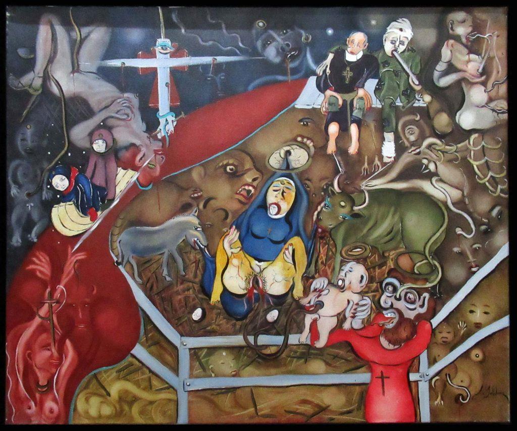 Claude Bolduc - Nativité - acrylique sur toile - 60/35cm - 2001