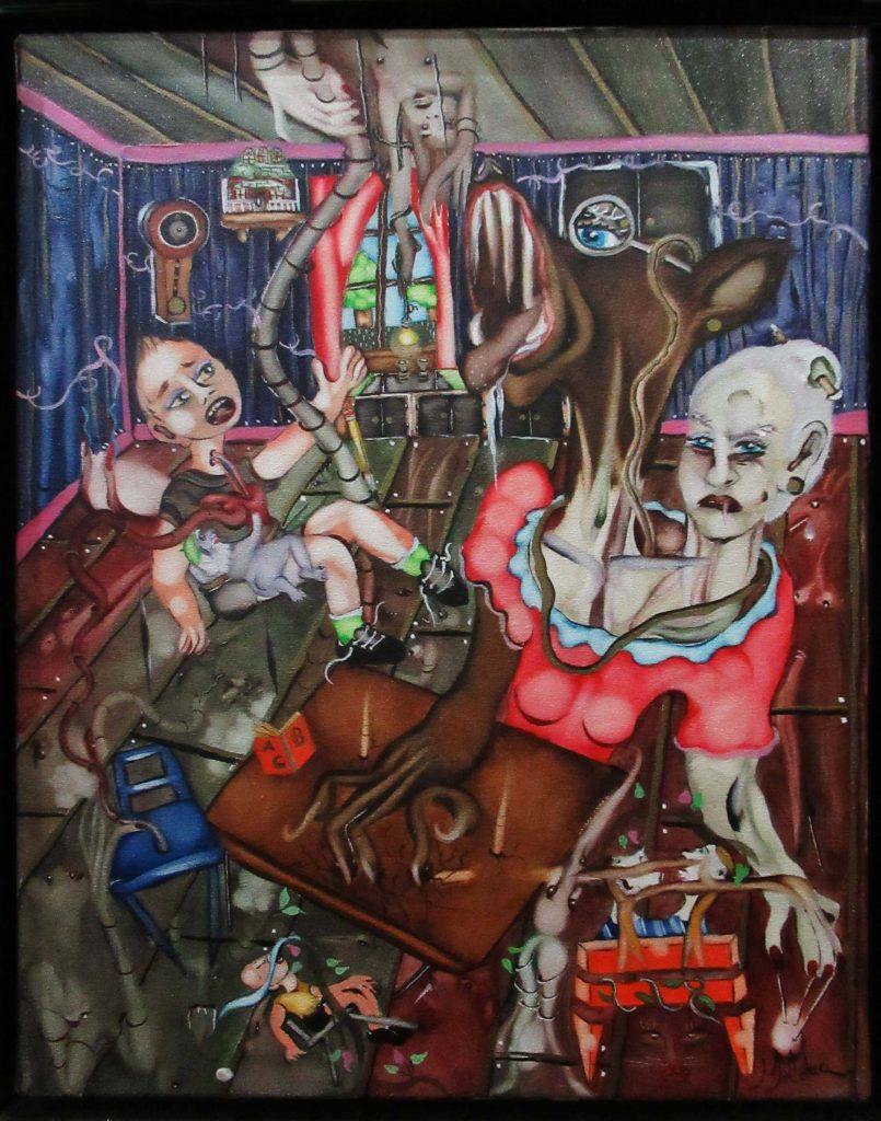 Claude Bolduc - souvenir d'enfance - acrylique sur toile - 50/35cm - 2002
